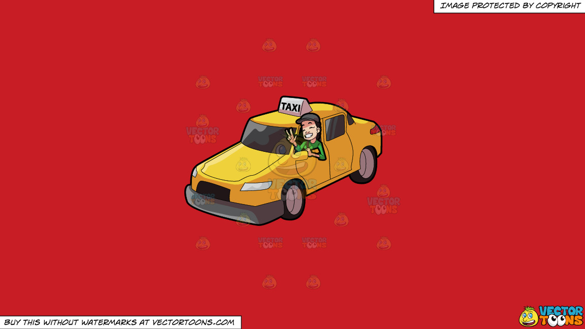 A Female Taxi Driver Gesturing A Victory Sign On A Solid Fire Engine Red C81d25 Background thumbnail