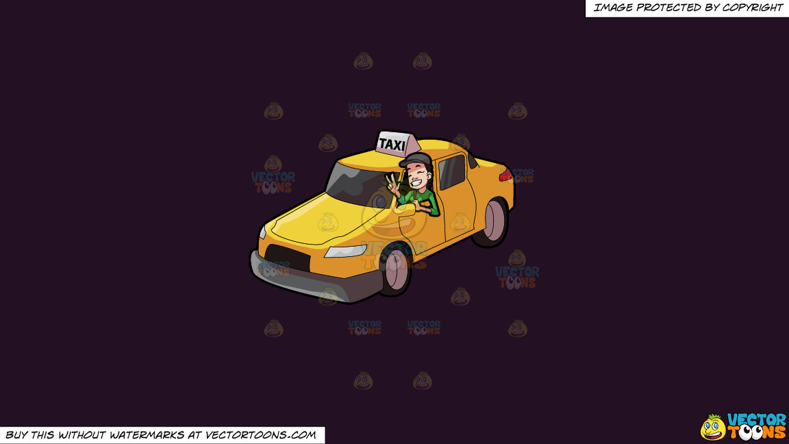 A Female Taxi Driver Gesturing A Victory Sign On A Solid Purple Rasin 241023 Background thumbnail