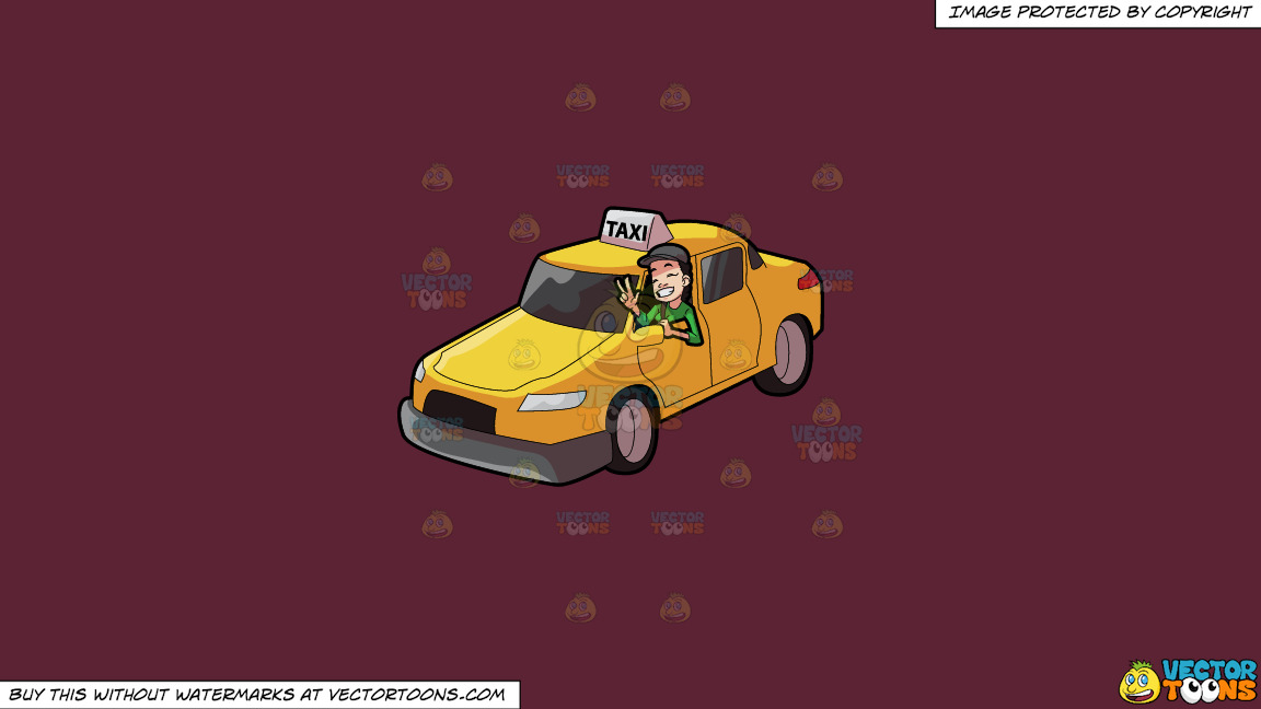 A Female Taxi Driver Gesturing A Victory Sign On A Solid Red Wine 5b2333 Background thumbnail
