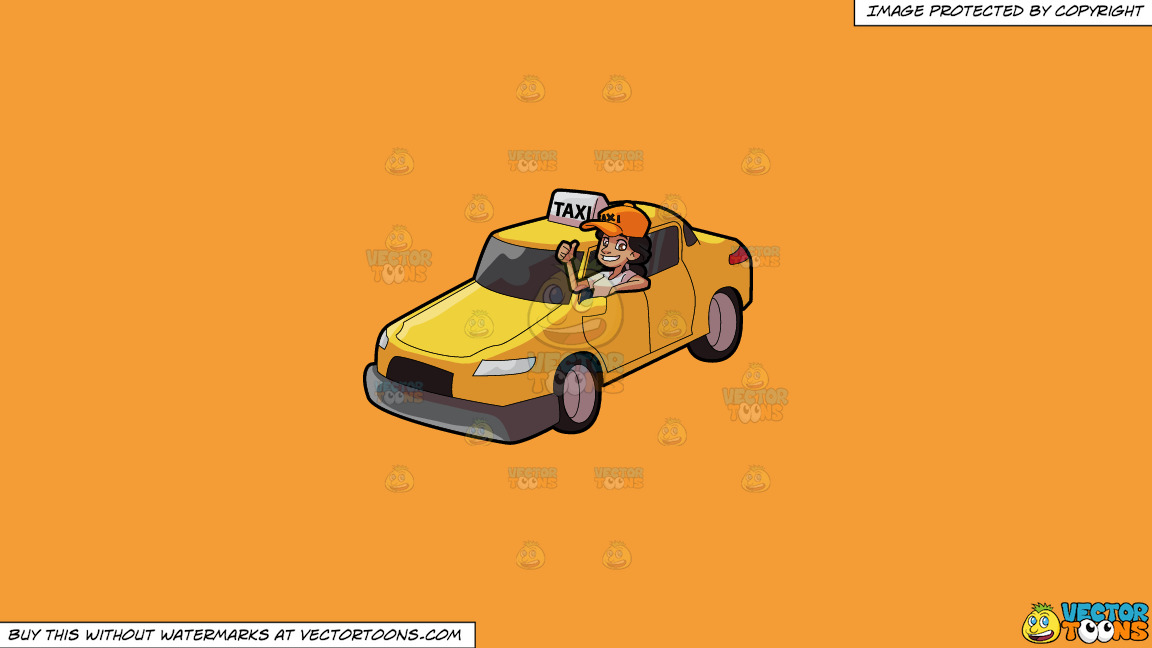 A Female Taxi Driver Gesturing An Approval Sign On A Solid Deep Saffron Gold F49d37 Background thumbnail