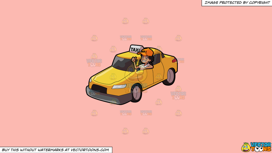 A Female Taxi Driver Gesturing An Approval Sign On A Solid Melon Fcb9b2 Background thumbnail