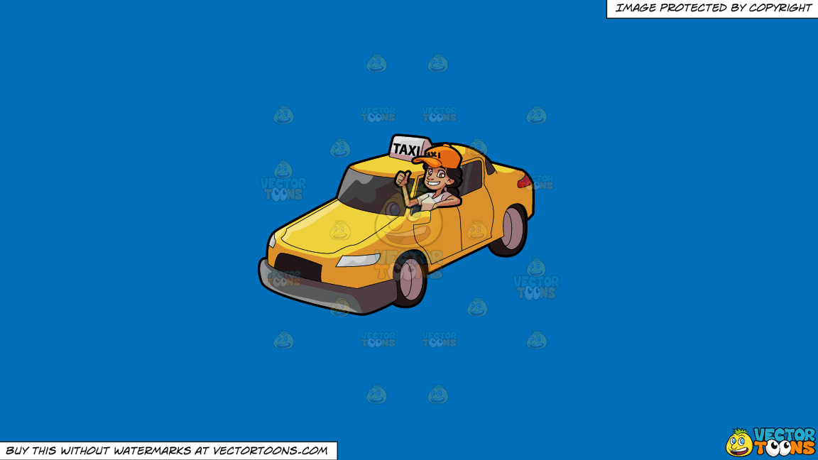 A Female Taxi Driver Gesturing An Approval Sign On A Solid Spanish Blue 016fb9 Background thumbnail
