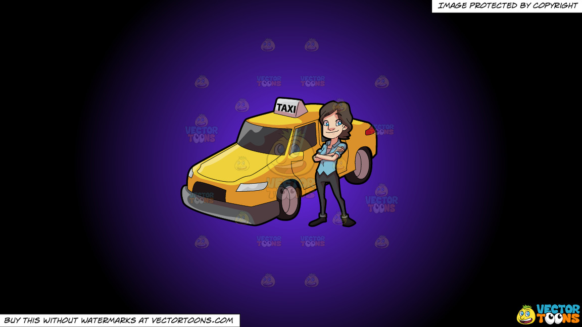 A Female Taxi Driver Looking Bright And Happy On A Purple And Black Gradient Background thumbnail
