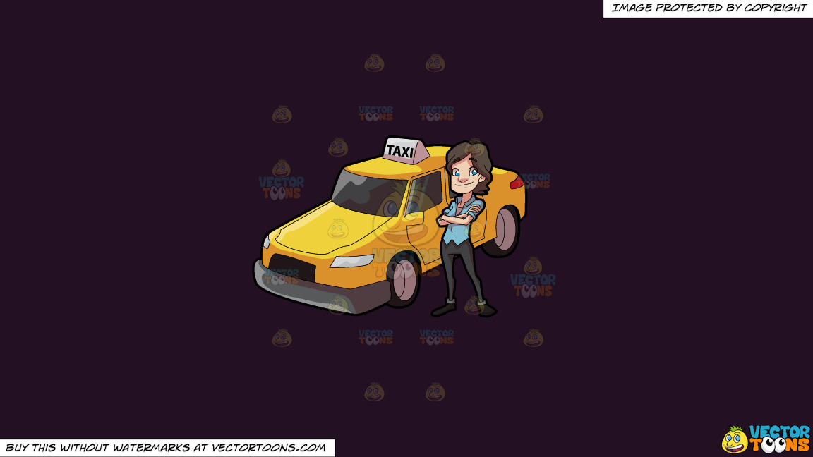 A Female Taxi Driver Looking Bright And Happy On A Solid Purple Rasin 241023 Background thumbnail