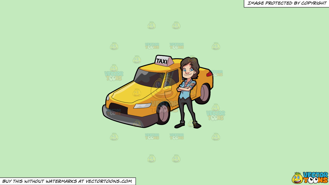 A Female Taxi Driver Looking Bright And Happy On A Solid Tea Green C2eabd Background thumbnail