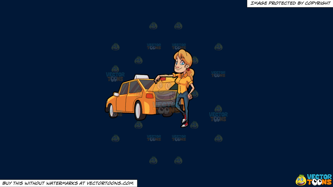 A Female Taxi Driver Opening The Back Trunk On A Solid Dark Blue 011936 Background thumbnail