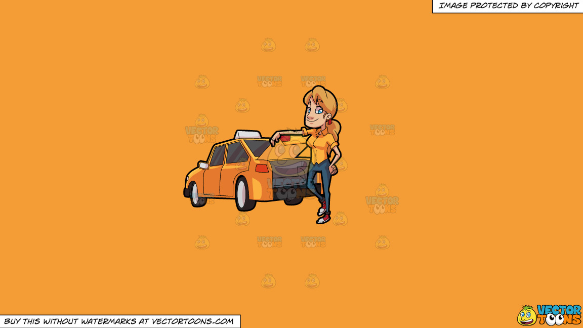 A Female Taxi Driver Opening The Back Trunk On A Solid Deep Saffron Gold F49d37 Background thumbnail