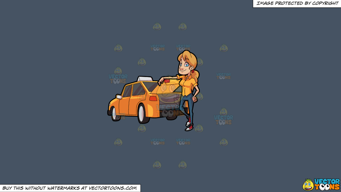 A Female Taxi Driver Opening The Back Trunk On A Solid Metal Grey 465362 Background thumbnail