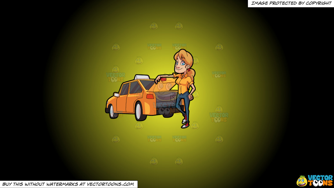 A Female Taxi Driver Opening The Back Trunk On A Yellow And Black Gradient Background thumbnail