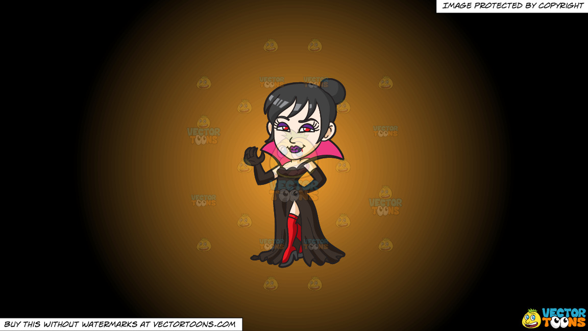 A Fierce Lady Vampire On A Orange And Black Gradient Background thumbnail
