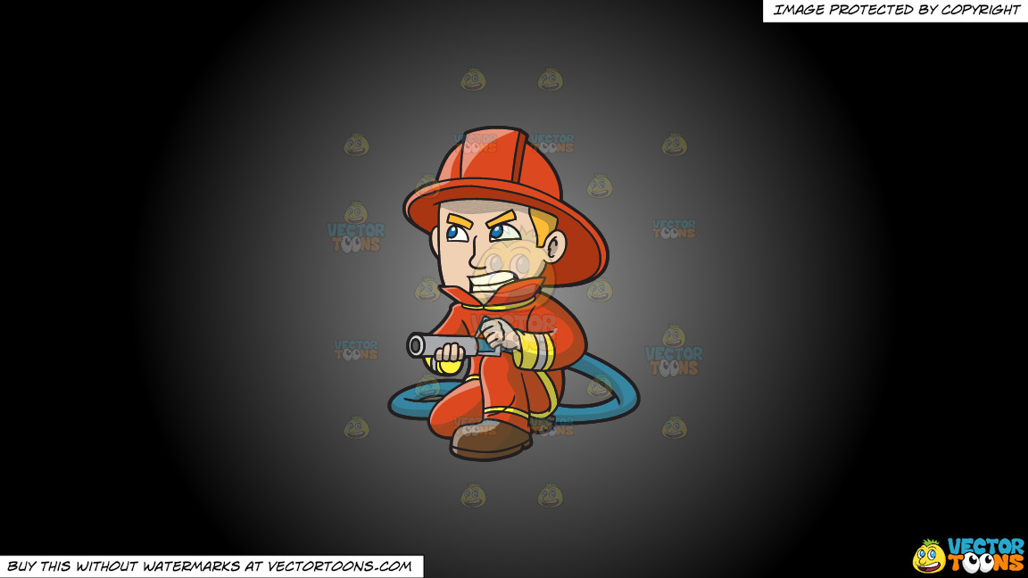 A Firefighter Aiming A Hose At A Fire On A Grey And Black Gradient Background thumbnail