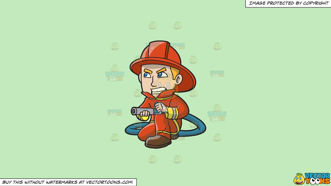 A Firefighter Aiming A Hose At A Fire On A Solid Tea Green C2eabd Background thumbnail