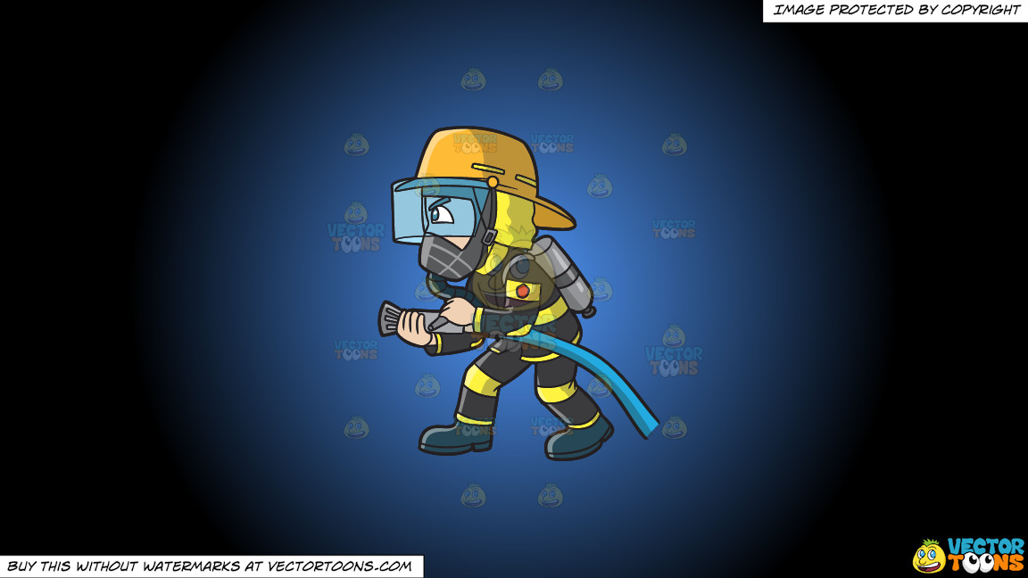 A Firefighter Charges To Put Out A Fire On A Blue And Black Gradient Background thumbnail