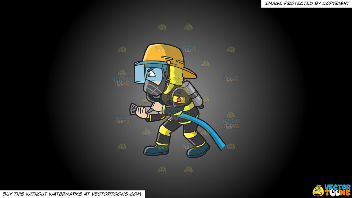 A Firefighter Charges To Put Out A Fire On A Grey And Black Gradient Background thumbnail