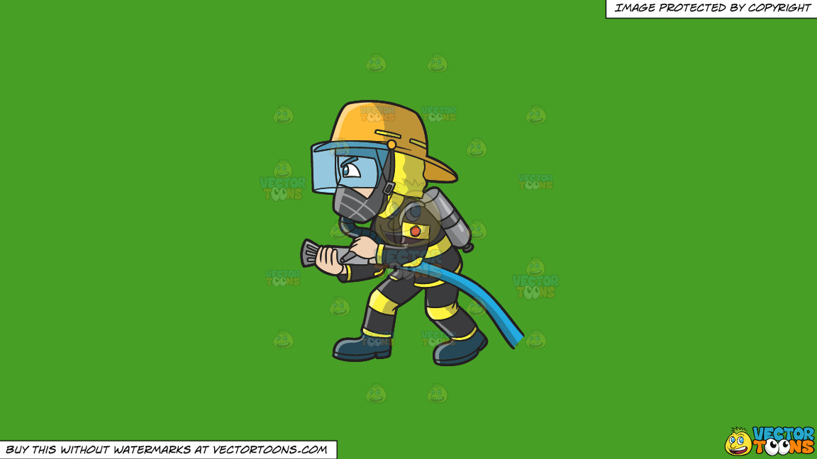 A Firefighter Charges To Put Out A Fire On A Solid Kelly Green 47a025 Background thumbnail