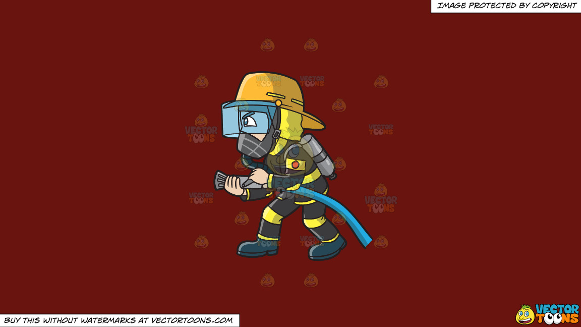 A Firefighter Charges To Put Out A Fire On A Solid Maroon 69140e Background thumbnail