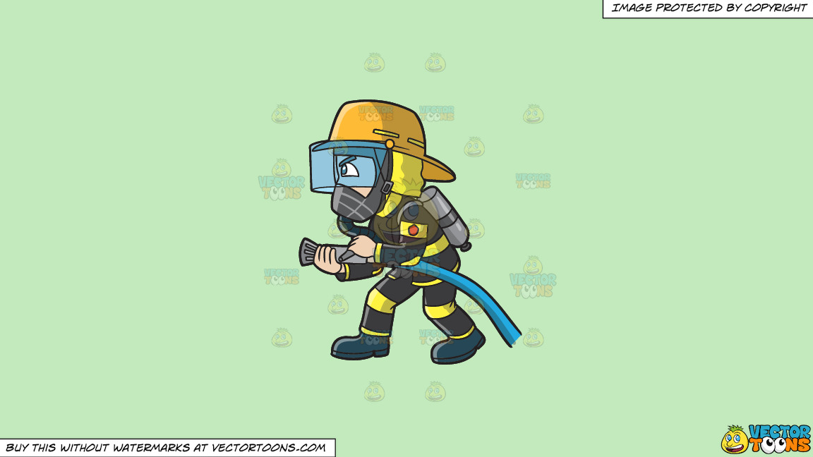 A Firefighter Charges To Put Out A Fire On A Solid Tea Green C2eabd Background thumbnail