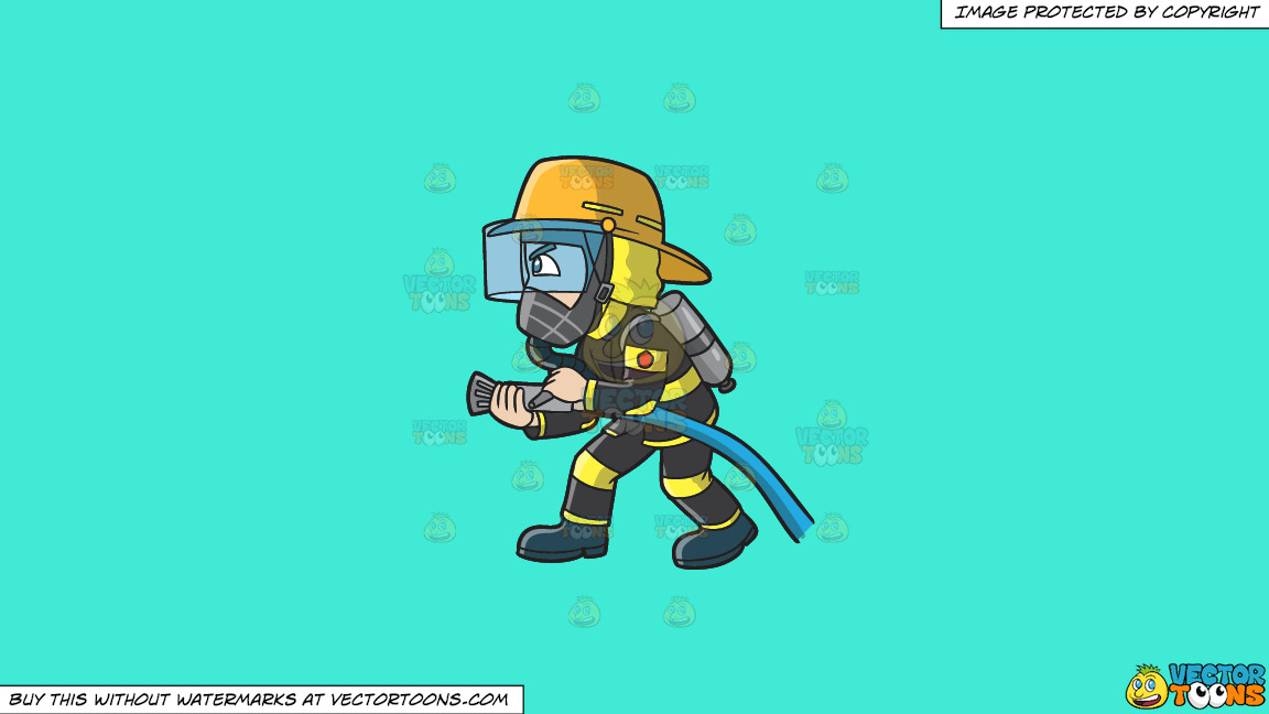A Firefighter Charges To Put Out A Fire On A Solid Turquiose 41ead4 Background thumbnail