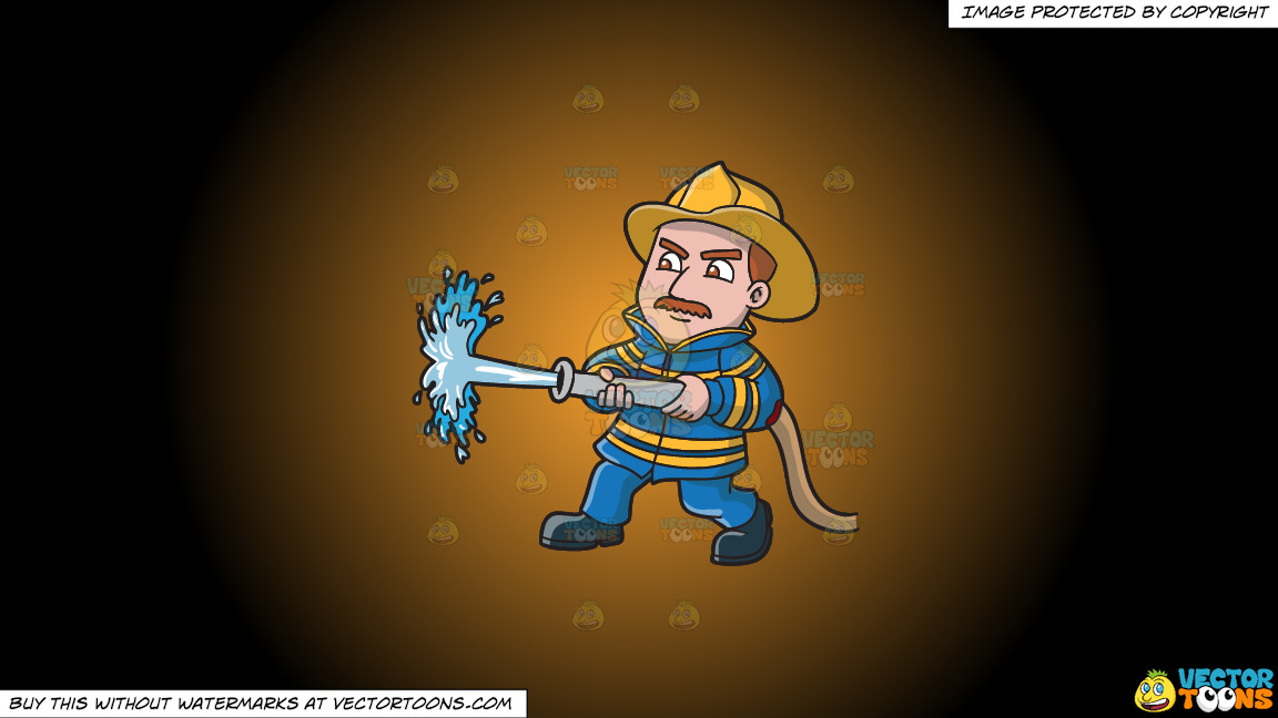 A Firefighter Operating A Fire Hose On A Orange And Black Gradient Background thumbnail
