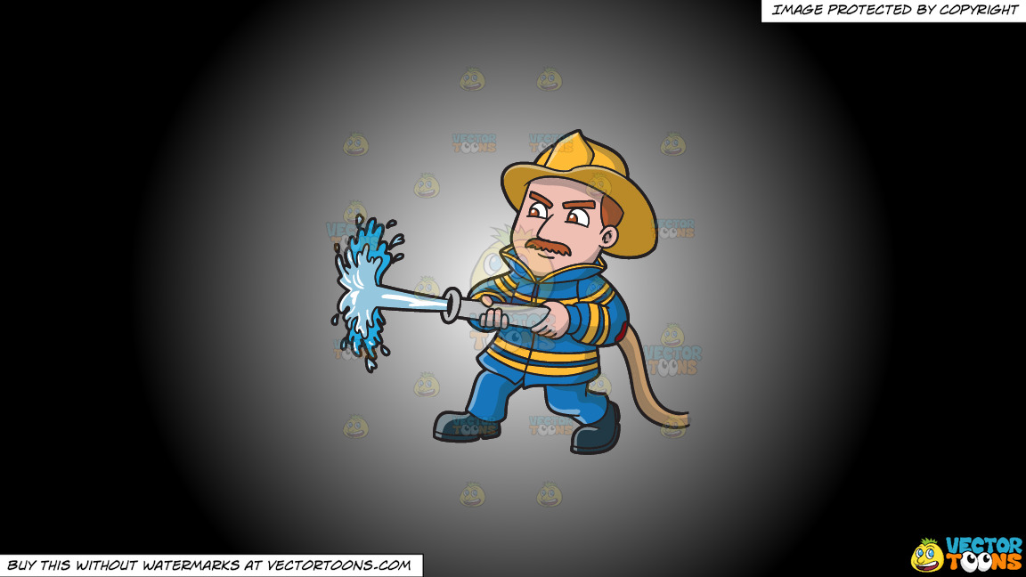 A Firefighter Operating A Fire Hose On A White And Black Gradient Background thumbnail