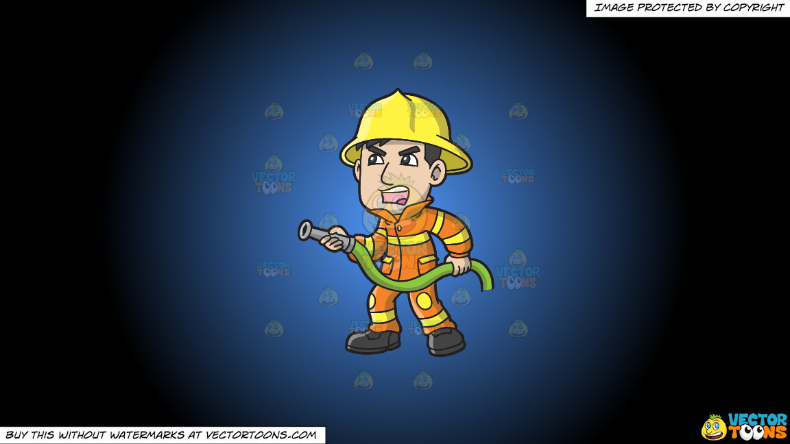 A Firefighter Yelling Instructions To Put Out A Fire On A Blue And Black Gradient Background thumbnail