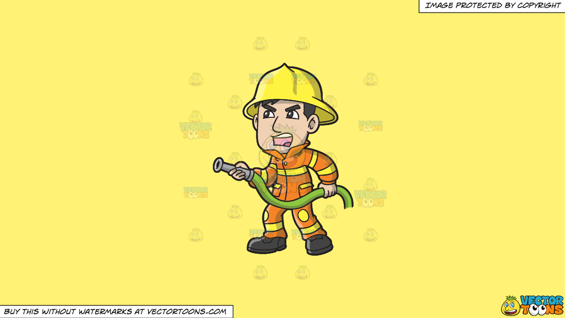 A Firefighter Yelling Instructions To Put Out A Fire On A Solid Sunny Yellow Fff275 Background thumbnail