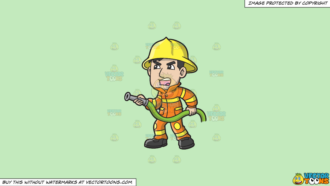 A Firefighter Yelling Instructions To Put Out A Fire On A Solid Tea Green C2eabd Background thumbnail