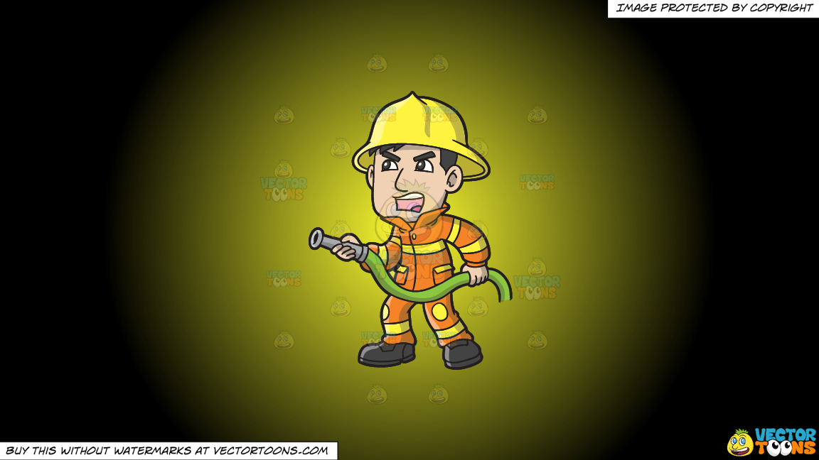 A Firefighter Yelling Instructions To Put Out A Fire On A Yellow And Black Gradient Background thumbnail