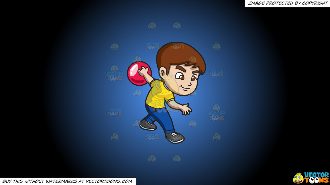 A Focused Boy Enjoying The Game Of Bowling On A Blue And Black Gradient Background thumbnail