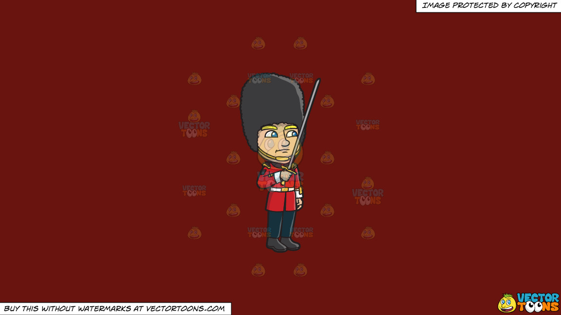 A Foot Guard Holding A Sword During A Ceremony On A Solid Maroon 69140e Background thumbnail