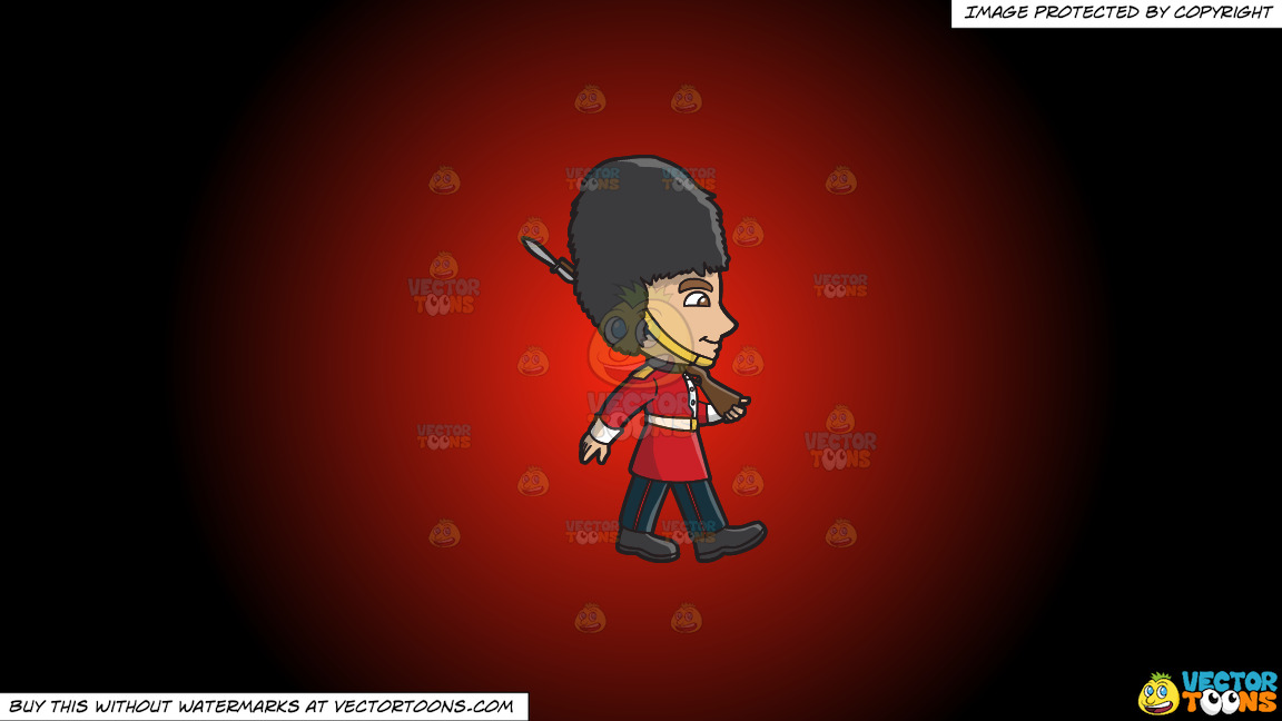 A Foot Guard Marching Down The Road On A Red And Black Gradient Background thumbnail