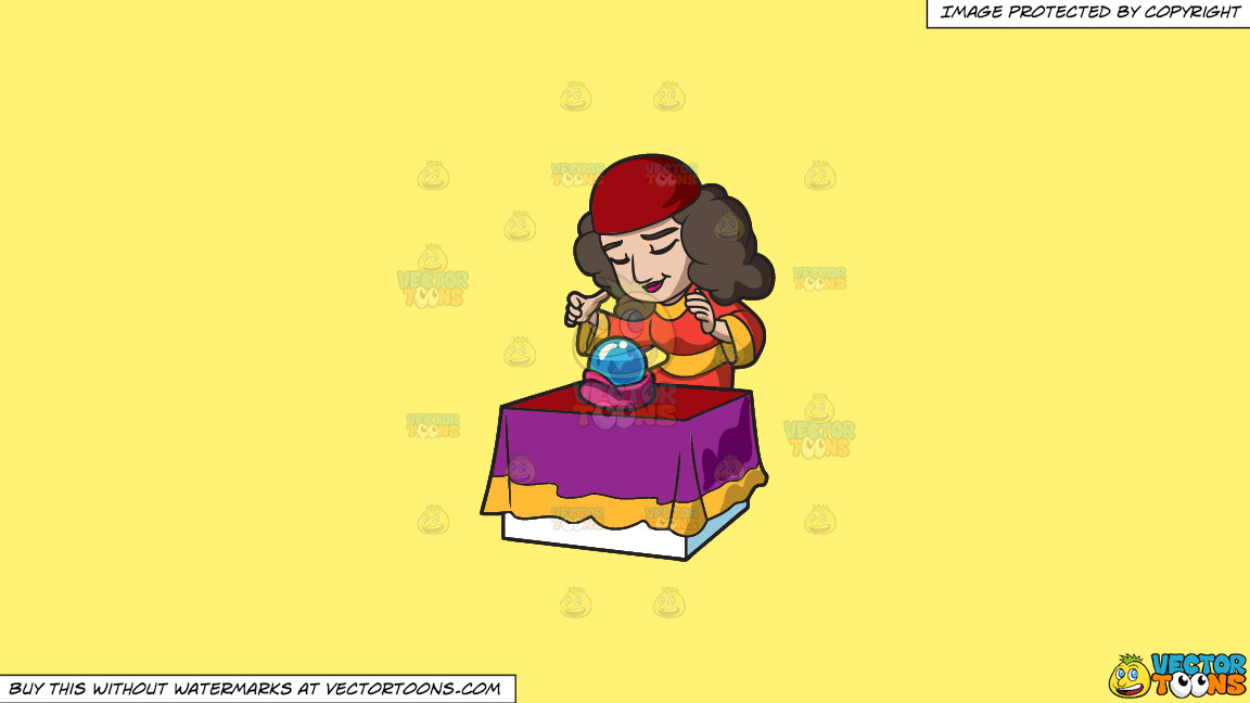 A Fortune Teller Practices Her Ritual With An Orb On A Solid Sunny Yellow Fff275 Background thumbnail