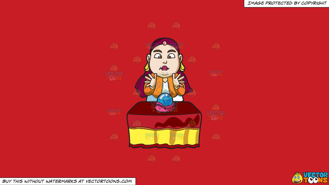 A Fortune Teller Using A Crystal Ball To Read The Future On A Solid Fire Engine Red C81d25 Background thumbnail