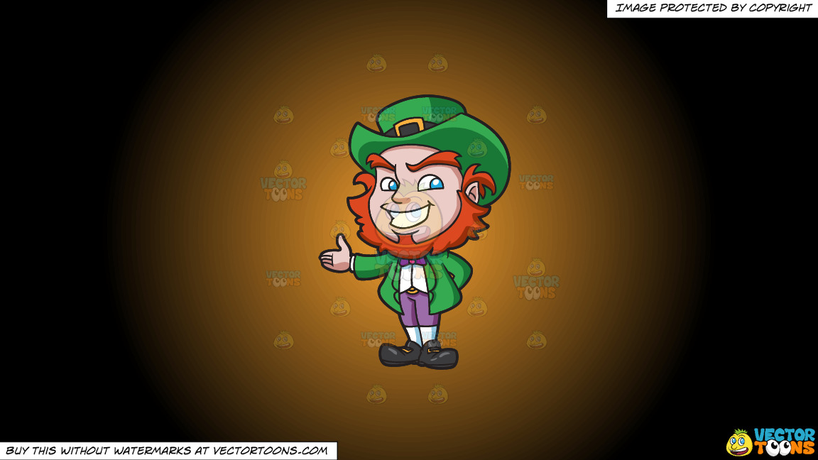 A Friendly And Warm Leprechaun On A Orange And Black Gradient Background thumbnail