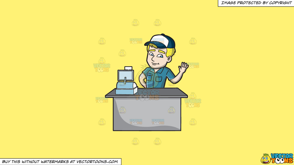 A Friendly Fast Food Cashier Employee On A Solid Sunny Yellow Fff275 Background thumbnail