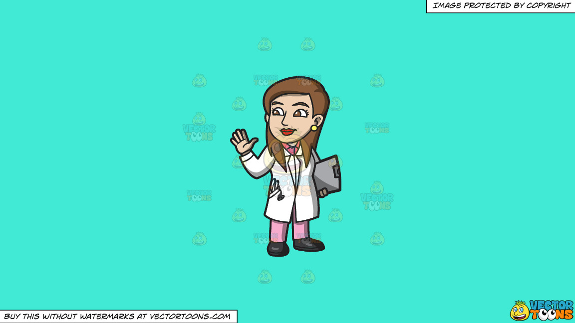 A Friendly Female Doctor On A Solid Turquiose 41ead4 Background thumbnail