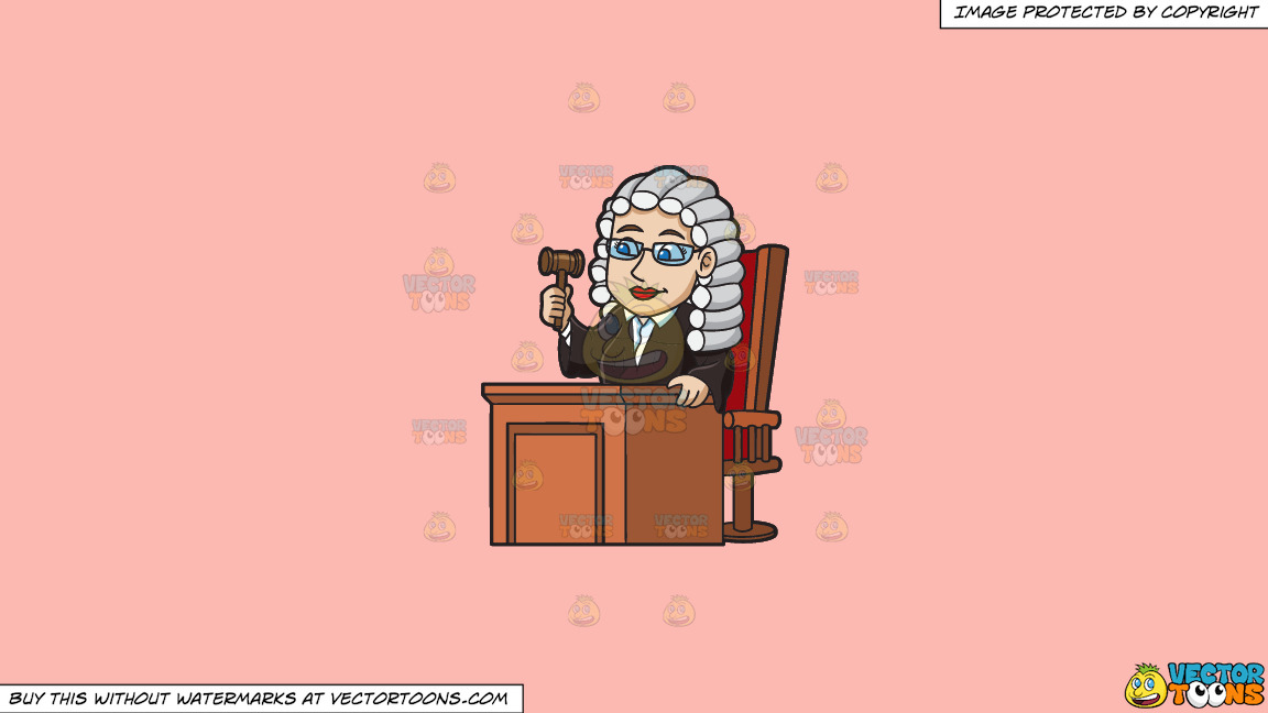 A Friendly Female Judge On A Solid Melon Fcb9b2 Background thumbnail