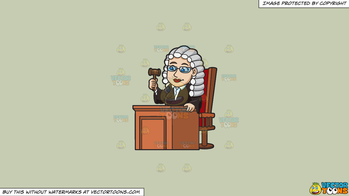 A Friendly Female Judge On A Solid Pale Silver C6ccb2 Background thumbnail