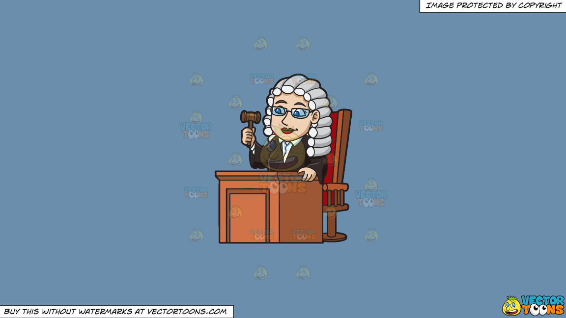 A Friendly Female Judge On A Solid Shadow Blue 6c8ead Background thumbnail
