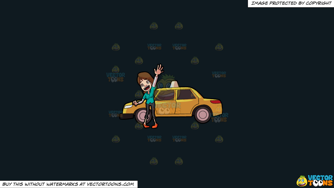 A Friendly Female Taxi Driver On A Solid Off Black 0f1a20 Background thumbnail