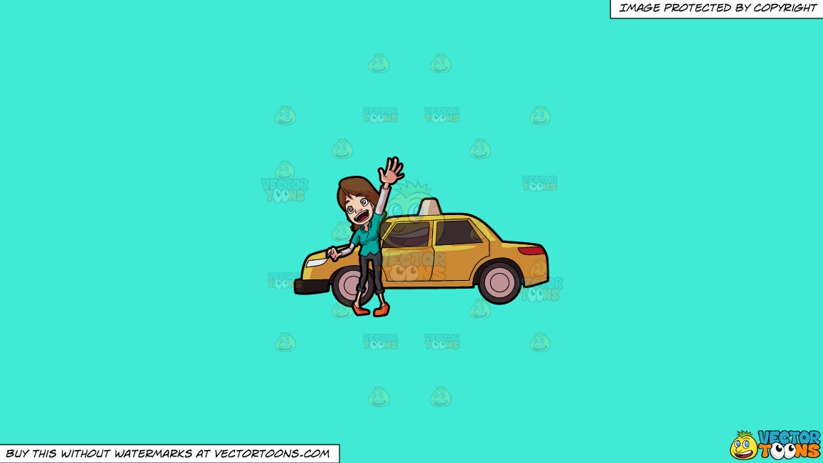 A Friendly Female Taxi Driver On A Solid Turquiose 41ead4 Background thumbnail