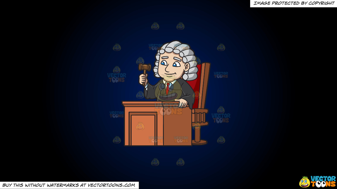A Friendly Judge On A Dark Blue And Black Gradient Background thumbnail