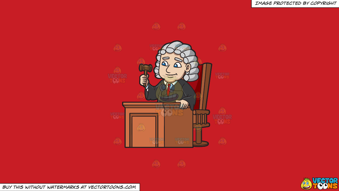 A Friendly Judge On A Solid Fire Engine Red C81d25 Background thumbnail