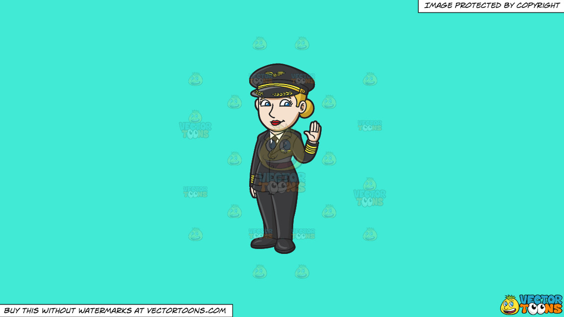 A Friendly Lady Pilot On A Solid Turquiose 41ead4 Background thumbnail