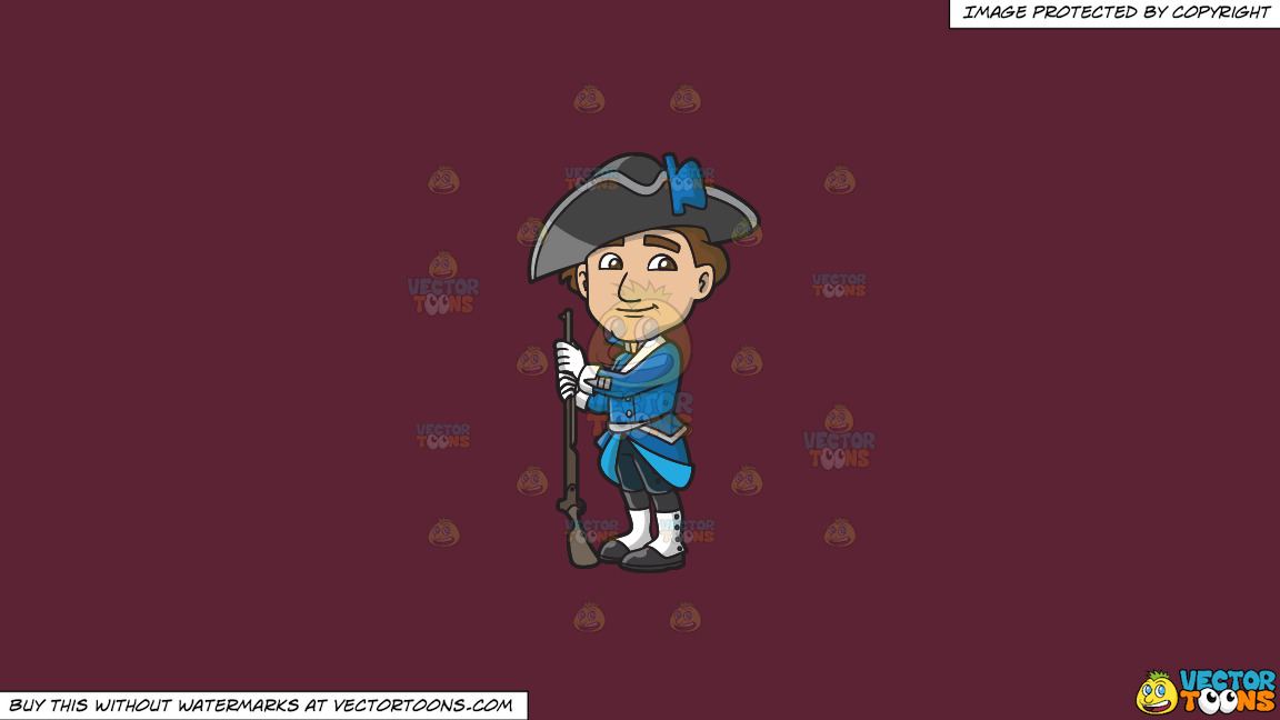 A Friendly Looking 18th Century Military Man On A Solid Red Wine 5b2333 Background thumbnail