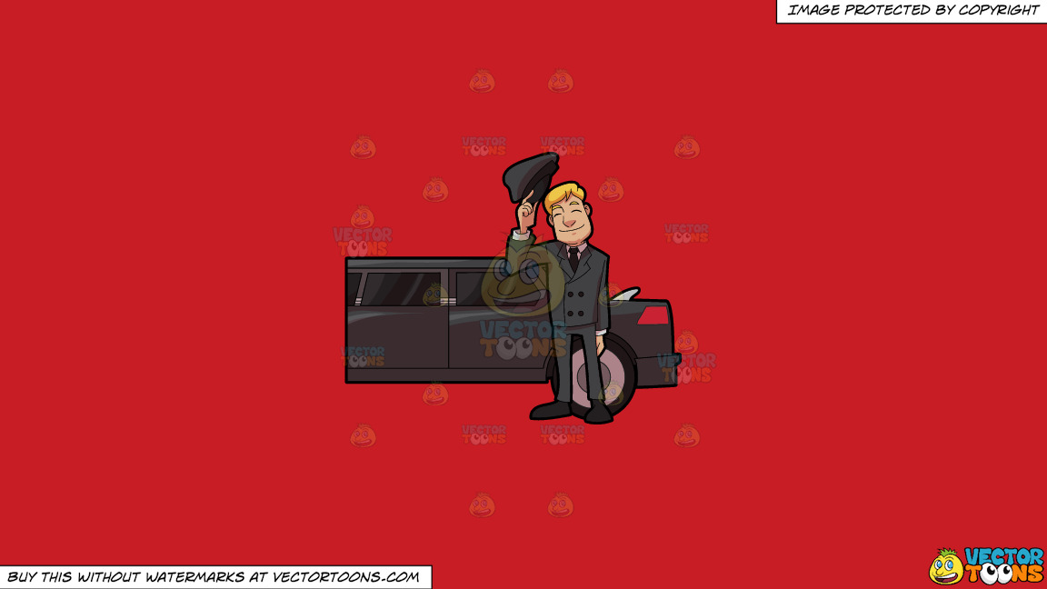 A Friendly Looking Chauffeur On A Solid Fire Engine Red C81d25 Background thumbnail