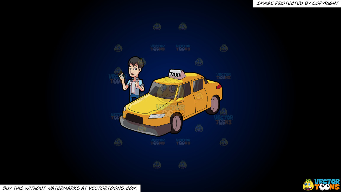 A Friendly Looking Taxi Driver On A Dark Blue And Black Gradient Background thumbnail