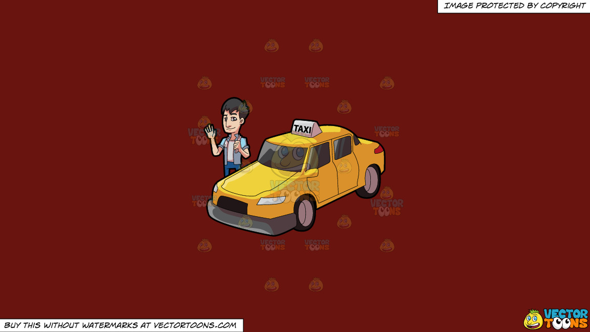 A Friendly Looking Taxi Driver On A Solid Maroon 69140e Background thumbnail