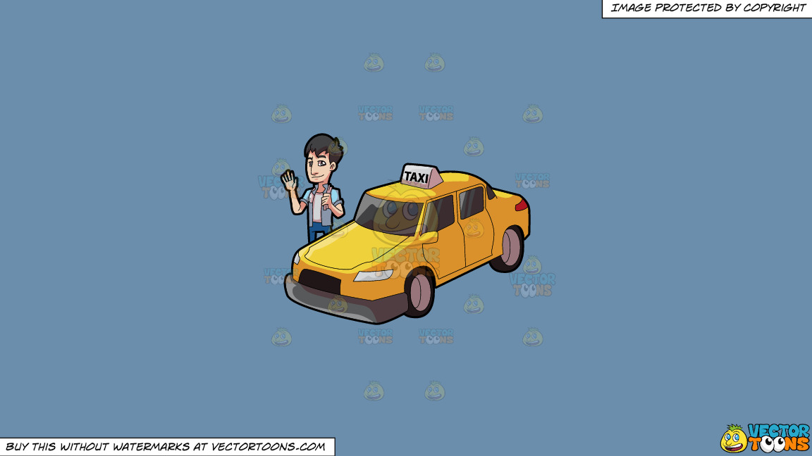 A Friendly Looking Taxi Driver On A Solid Shadow Blue 6c8ead Background thumbnail