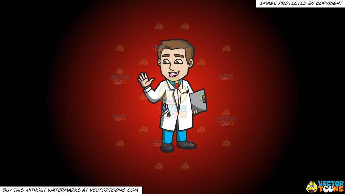 A Friendly Male Doctor On A Red And Black Gradient Background thumbnail